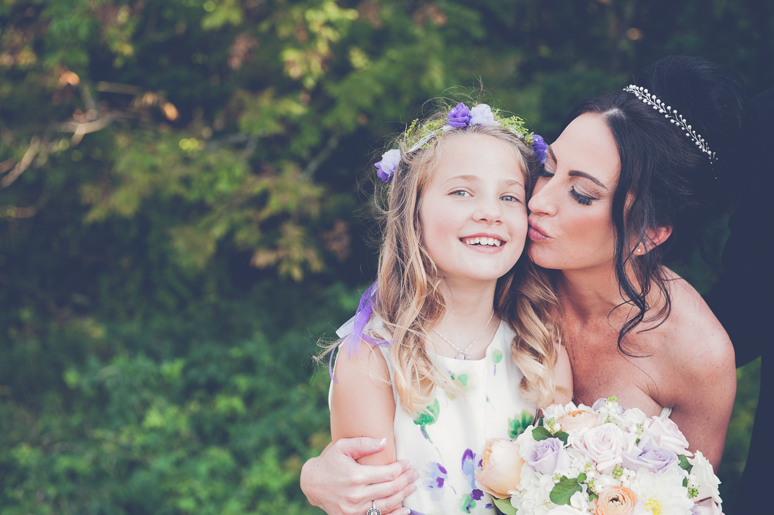 gorgeous bride with flower girl